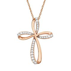 1/6 Carat T.W. Diamond 10k Rose Gold Ribbon Cross Pendant Necklace