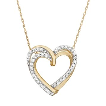 1/4 Carat T.W. Diamond 10k Gold Double Heart Pendant Necklace