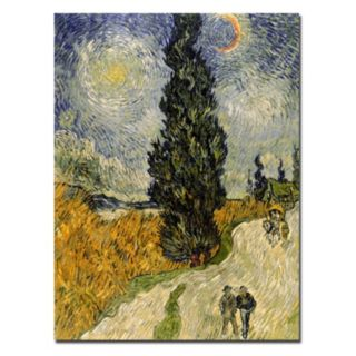 Trademark Fine Art ''Road with Cypresses 1890'' Canvas Wall Art by Vincent van Gogh
