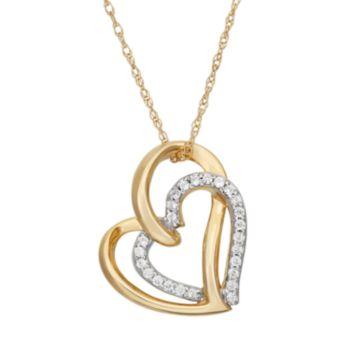 1/10 Carat T.W. Diamond 10k Gold Double Heart Pendant Necklace