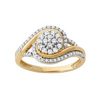 1/2 Carat T.W. Diamond 10k Gold Swirl Cluster Ring