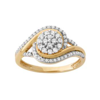 1/2 Carat T.W. Diamond 10k Gold Swirl Cluster Ring