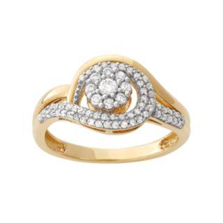 1/2 Carat T.W. Diamond 10k Gold Flower Swirl Ring