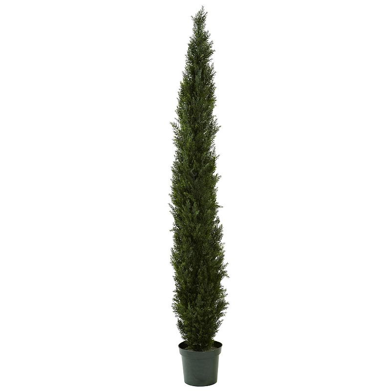 nearly natural 8-ft. Mini Cedar Pine Tree, White, 8  Bring the forest to your home with this nearly natural artificial cedar pine tree. 4,249 branch tips create a full look. 96''H x 26''W x 26''D Plastic, polyester, metal Wipe clean Model no. 5430  Size: 8 . Color: White. Gender: unisex. Age Group: adult.