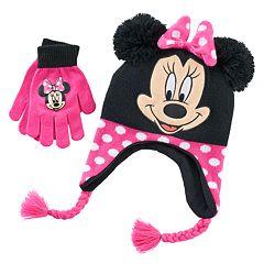 Disney Girls 7-16 Minnie Mouse Hat & Gloves Set