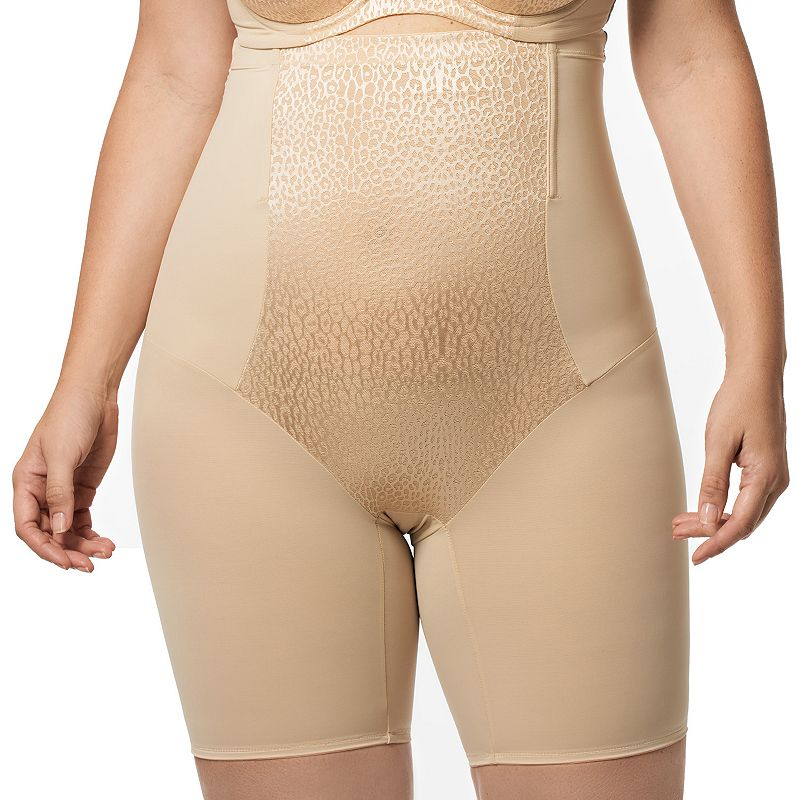 Elila Leopard High-Waist Thigh Slimmer 8205 - Women's Plus Size