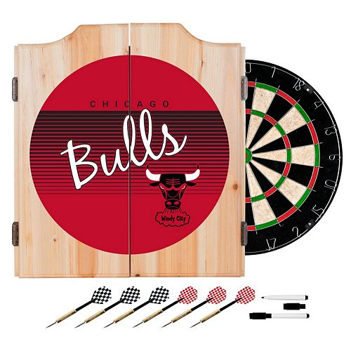 Chicago Bulls Hardwood Classics Wood Dart Cabinet Set