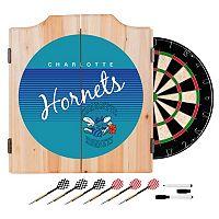Charlotte Hornets Hardwood Classics Wood Dart Cabinet Set