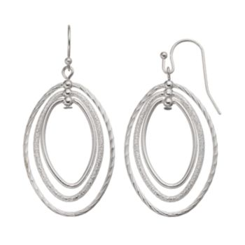 Textured Triple Oval Hoop Drop Earrings