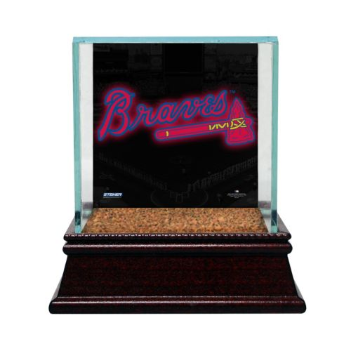 Steiner Sports Glass Single Baseball Display Case with Atlanta Braves Logo Background and Authentic ...