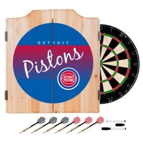 Detroit Pistons Hardwood Classics Wood Dart Cabinet Set