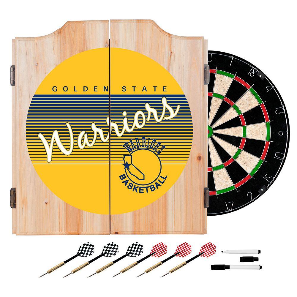 Golden State Warriors Hardwood Classics Wood Dart Cabinet Set