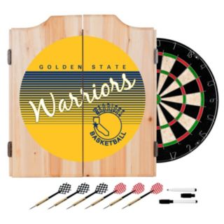 Golden State Warriors Hardwood Classics Wood Dart Cabinet Set
