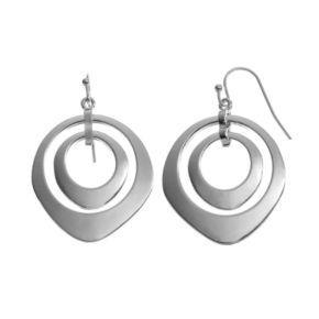 Abstract Double Hoop Drop Earrings