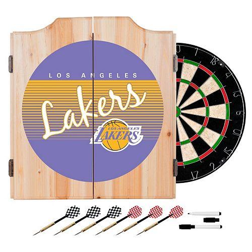 Los Angeles Lakers Hardwood Classics Wood Dart Cabinet Set