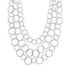 Textured Hoop Multistrand Necklace