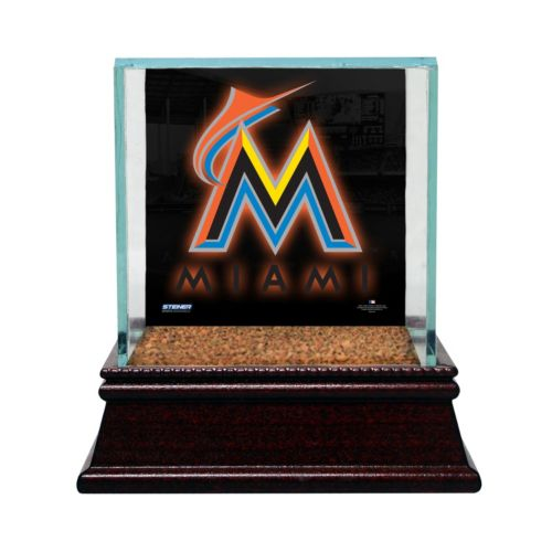 Steiner Sports Glass Single Baseball Display Case with Miami Marlins Logo Background and Authentic Field Dirt