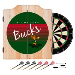 Milwaukee Bucks Hardwood Classics Wood Dart Cabinet Set