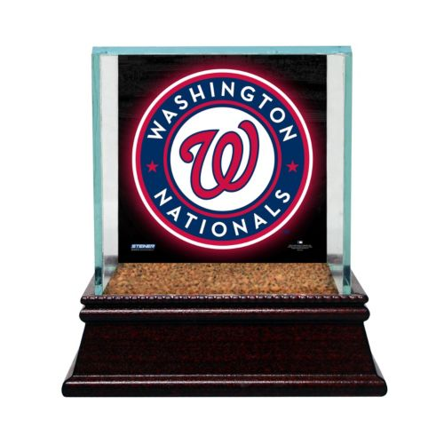 Steiner Sports Glass Single Baseball Display Case with Washington Nationals Logo Background and Authentic Field Dirt