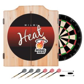 Miami Heat Hardwood Classics Wood Dart Cabinet Set