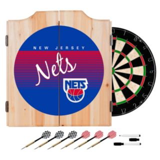 New Jersey Nets Hardwood Classics Wood Dart Cabinet Set
