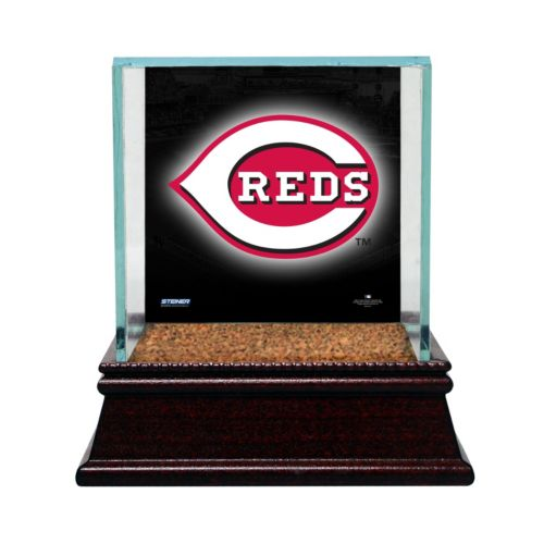 Steiner Sports Glass Single Baseball Display Case with Cincinnati Reds Logo Background and Authentic Field Dirt