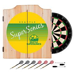 Seattle Super Sonics Hardwood Classics Wood Dart Cabinet Set
