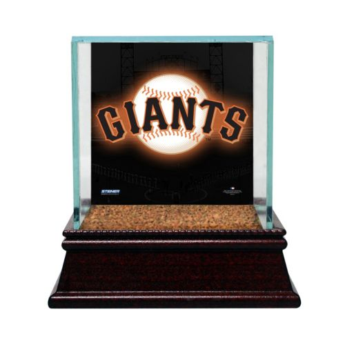 Steiner Sports Glass Single Baseball Display Case with San Francisco Giants Logo Background and Authentic Field Dirt