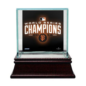 Steiner Sports Glass Single Baseball Display Case with San Francisco Giants 2014 World Series Champions Background and Authentic Field Dirt