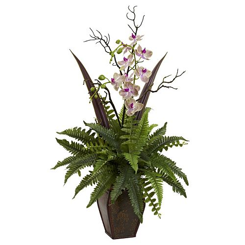 nearly natural Fern & Orchid Floral Arrangement