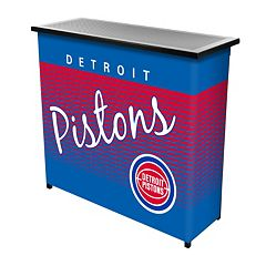Detroit Pistons Hardwood Classics 2-Shelf Portable Bar with Case