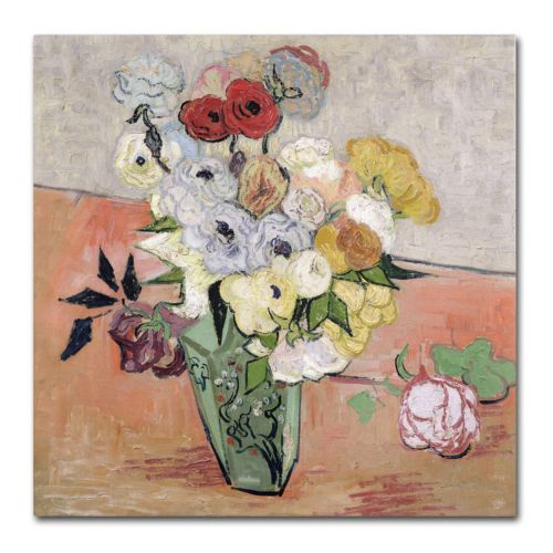 "Trademark Fine Art ""Roses and Anemones"" Canvas Wall Art by Vincent van Gogh"