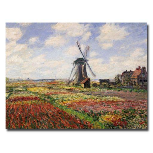 Trademark Fine Art ''Tulip Fields in Holland'' Canvas Wall Art by Claude Monet