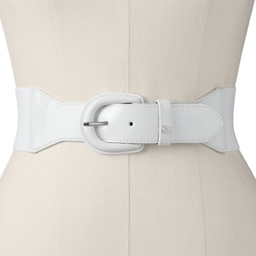 Chaps Wrapped Buckle Stretch Leather Belt