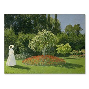 Trademark Fine Art ''Jeanne Marie Lecadre in the Garden'' Canvas Wall Art by Claude Monet