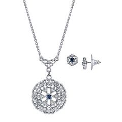 Downton Abbey Filigree Necklace & Stud Earring Set