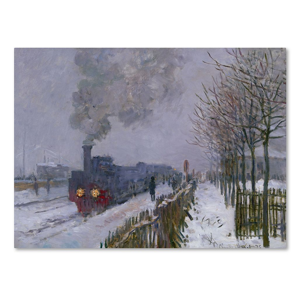 Trademark Fine Art ''Train in the Snow'' Canvas Wall Art by Claude Monet