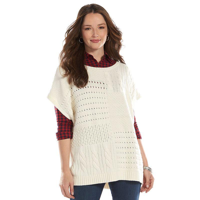 Women's Chaps Mixed Knit Sweater