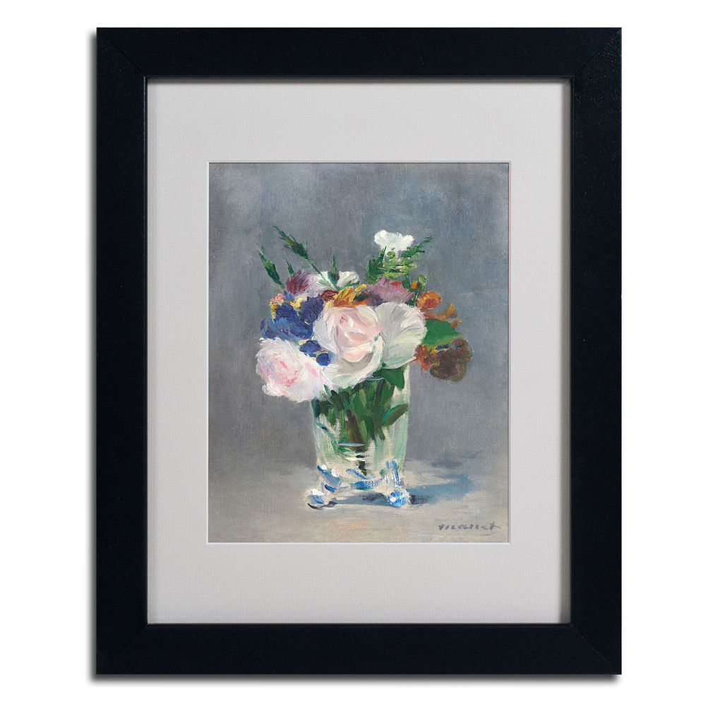 Trademark Fine Art ''Flowers In a Crystal Vase'' Framed Canvas Wall Art