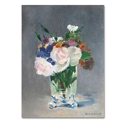 Trademark Fine Art ''Flowers In a Crystal Vase'' Canvas Wall Art