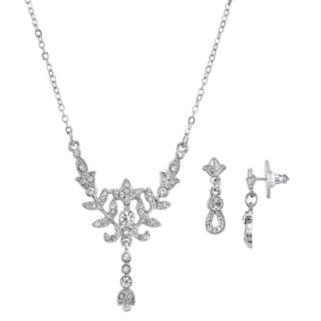 Downton Abbey Leaf Y Necklace & Drop Earring Set