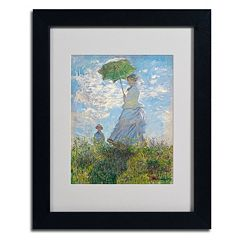 Trademark Fine Art ''Woman With a Parasol'' Framed Canvas Wall Art by Claude Monet