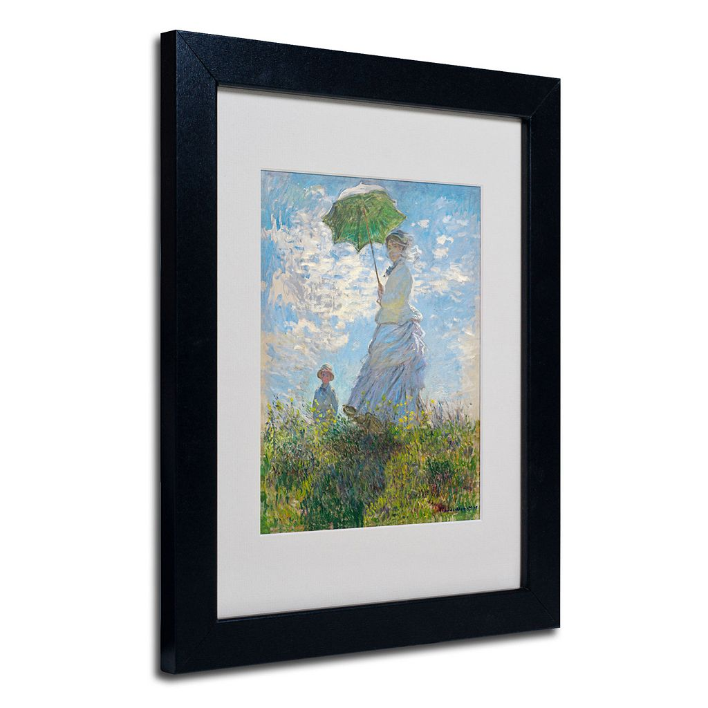 Trademark Fine Art ''Woman With a Parasol'' Framed Canvas Wall Art by Claude Monet