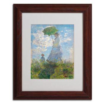 Trademark Fine Art ''Woman With a Parasol 1875'' Framed Canvas Wall Art by Claude Monet