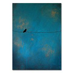 Trademark Fine Art ''Lone Bird Blue'' Canvas Wall Art