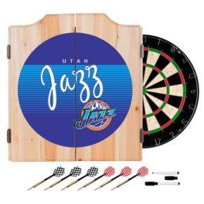 Utah Jazz Hardwood Classics Wood Dart Cabinet Set
