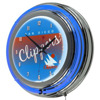 San Diego Clippers Hardwood Classics Chrome Double-Ring Neon Wall Clock
