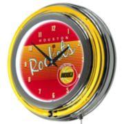 Houston Rockets Hardwood Classics Chrome Double-Ring Neon Wall Clock