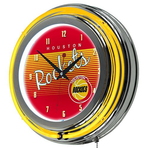 Houston Rockets Hardwood Classics Chrome Double-Ring Neon Wall Clock