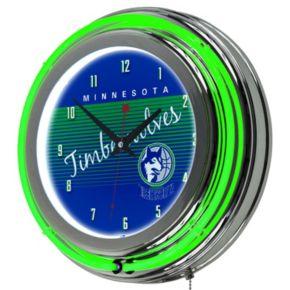 Minnesota Timberwolves Hardwood Classics Chrome Double-Ring Neon Wall Clock